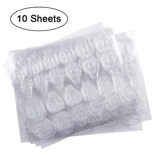 10 fogli (240 pezzi) Adesivo per colla per unghie a doppio lato, Kalolary Colla gelatina Nastro Adesivo con linguette Colla per unghie Adesivo flessibile trasparente Unghie finte Consigli per manicure