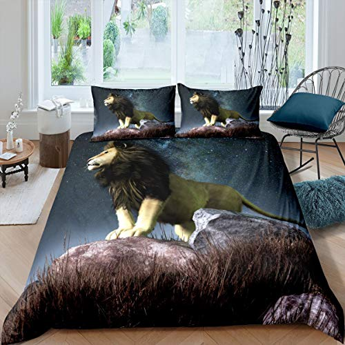 Lion Bedding Set Safari Print Duvet Cover for Kids Boys Girls Galaxy Wild Animal Pattern Comforter Cover University Night Wildlife Style Decor Quilt Cover Bedroom 2Pcs Single Size