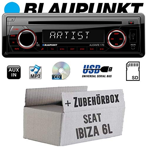 Seat Ibiza 6L - Autoradio Radio Blaupunkt Alicante 170 - CD/MP3/USB - Einbauzubehör - Einbauset
