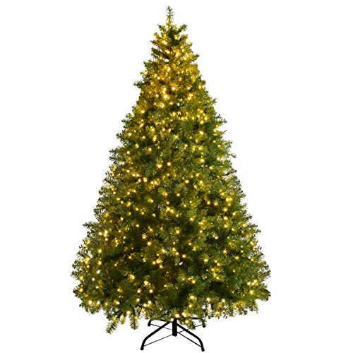 Goplus Pre-Lit Christmas Tree Artificial PVC Spruce Hinged with 560 LED Lights and Solid Metal Legs (6ft)