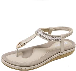 0debdafbf6c9e8 Oliviavane Sandales Compensées Femme Strass Plates Claquettes Maxi Bohème  Sexy Bride Modal Fashion Cheville Sandals Sandals