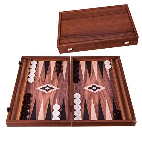 Manopoulos Backgammon mit Walnussdruck 48x60 cm - Luxus -Kiste - Detailliert - Made in Griechenland - Brettspiel - Backgammonspiel - Qualität - Komplett - Detaillierte Marquetery Design