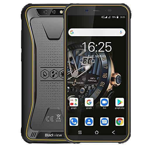 Blackview BV5500 Plus (2020) Günstige Outdoor Smartphone ohne Vertrag Android 10, 5,5 Zoll Bildschirm 3GB RAM+32GB Speicher, 4400mAh Akku, IP68 Wasserdicht, NFC, Face ID, 4G Dual SIM Handy (Gelb)