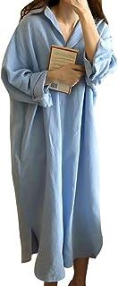 [ジェイストア] ロングワンピース 長袖 シャツ ワンピ 春 シンプル コーデ ミモレ丈 レディース M~2XL