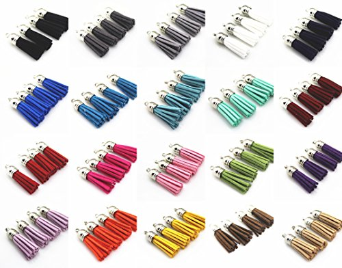 Mixed Color Faux Suede Tassel Leather Charm with CCB Cap for Keychain Cellphone Straps DIY Jewelry Jewelry Making, Key Chain Blanks and DIY Craft Accessor 100 silver tassel of 1-1/2 inch