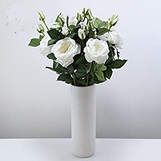 Floral Kingdom Latex Real Touch Country Rose Artificial Flowers for Floral Arrangements, Bouquets, and Home/Office Decor (Pack of 3) (White)