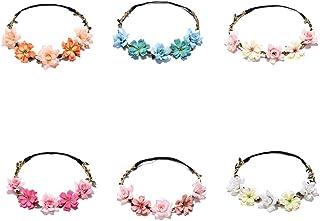 Diadema de Flores 6 Piezas Multicolor Diadema de Flores de Margarita con Cinta Elástica Ajustable para Fiesta Boda Playa