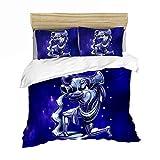 LPFNSF Juego de ropa de cama con diseño de estrellas 3D y 12 constelaciones, funda de edredón y funda de almohada, diseño de estrellas azules (Acuario, 135 x 200 cm)