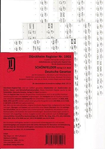SCHÖNFELDER Dürckheim-Griffregister Nr. 1903 (2018/172.EL): 215 Griffregister für die Sammlung SCHÖNFELDER: Deutsche Gesetze,DIE NEUAUFLAGE 2019 hat die ISBN 9783864532115