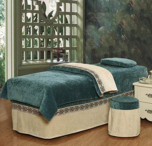 Table De Massage Couvre-Lits Salon De Beauté De Couleur Unie Tissu Épais Respirant Doux Plusieurs Tailles Disponibles,Blue,Squarehead70*185