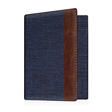 Fintie Passport Holder Travel Wallet - Premuim Fabric with Vegan Leather RFID Blocking Case Cover - Securely Holds Passport, Business Cards, Credit Cards, Boarding Passes, Denim Indigo/Brown