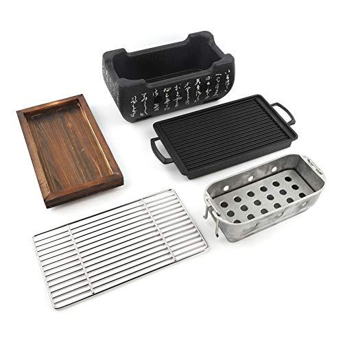 Vikye Parrilla de Barbacoa Japonesa, Estufa de carbón de Aluminio y Acero Inoxidable 24x12.5x11.5cm/9.4x6.1x4.5inch