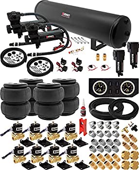 Vixen Air Suspension Kit for Truck/Car Bag/Air Ride/Spring On Board System- Dual 200psi Compressor 5 Gallon Tank for Boat Lift,Towing,Lowering,Load Leveling,Onboard Train Horn VXX1208FB/4852DBF