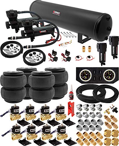 Vixen Air Suspension Kit for Truck/Car Bag/Air Ride/Spring. On Board System- Dual 200psi Compressor, 5 Gallon Tank. for Boat Lift,Towing,Lowering,Load Leveling,Onboard Train Horn VXX1208FB/4852DBF