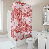 Generic Branded Schnell trocknender Flamingos_cheeky_pink Duschvorhang klassisch – Flamingo-Duschvorhänge mit Haken dekorativ für Badezimmer-Duschen, weiß, 180 x 200 cm
