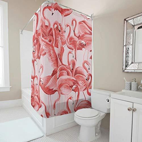 Generic Branded Wasserdichter Flamingo-Duschvorhang mit Haken, dekorativ für Badewannen, weiß, 200 x 200 cm