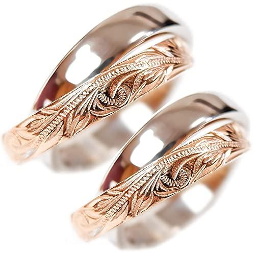 ペアリング ペアハワイアンジュエリー 指輪 2連リング カレイキニ スクロール 金属アレルギー対応 ステンレス 花 写真フレーム フラワー ピンクゴールド レディース:11号 メンズ:11号