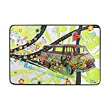 FANTAZIO Hippie con patrón de furgoneta felpudos para entrada al aire libre alfombra recta agarre de alfombra para cocina/baño 23.6 x 15.7 pulgadas