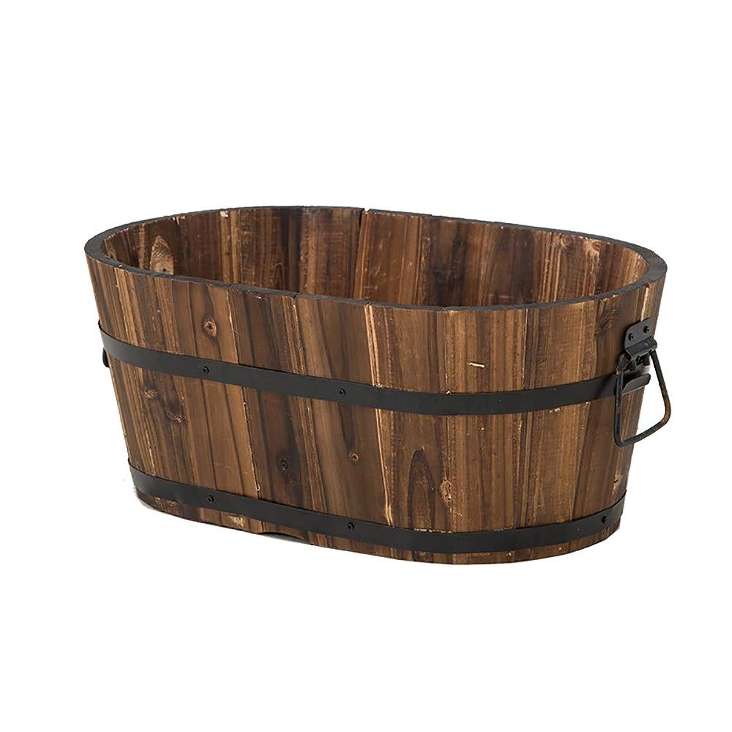 イブ分子単調な天然木のプランター/植木鉢、素朴な植木鉢,Brown-A-30×18.8×14cm