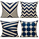 All Smiles Navy Blue Outdoor Patio Throw Pillow Covers Cases Decorative for Couch Sofa Furniture Home Decor Geometric Accent Cushion Square 18×18 Set of 4,Nautical Navy & Tan