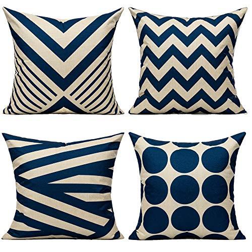 All Smiles Azul Marino Exterior Fundas de Cojines y Almohadas Decorativas al Aire Libre Patio para Sofá Muebles Hogar Decoración Geometrica 45×45CM, 4PC Náutica Marina