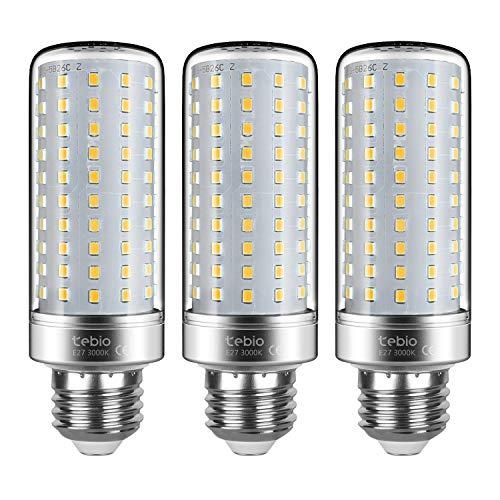 Tebio LED Plata Maíz Bombillas 25W E27 3000K Blanco Cálido LED Candelabros bombillas, 200W Bombilla Incandescente Equivalente, 2500LM, LED vela Bombillas No regulables, 3 Packs