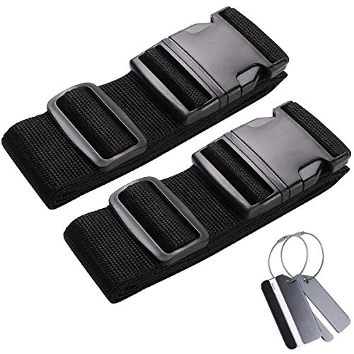flintronic Luggage Straps, 2 Pack Adjustable Suitcase Packing Belts with Buckle Closure, Black Suitcases Packing Belts for Traveling(2 Luggage Taps Include)