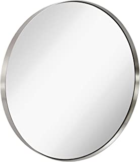 Hamilton Hills Contemporary Brushed Metal Silver Wall Mirror   Glass Panel Silver Framed Rounded Circle Deep Set Design (35