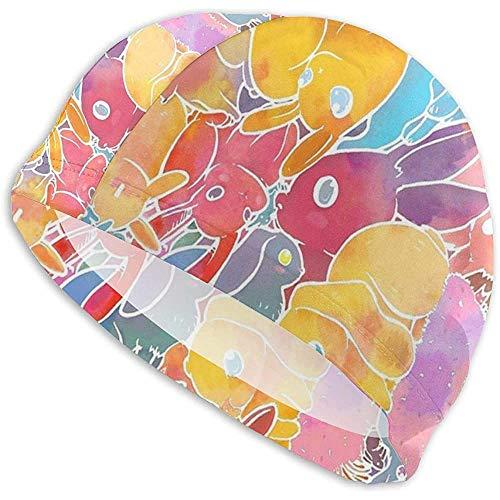 Zaleraith Rabbit Bunny Invasion Mujeres Hombres Gorro de baño Impermeable Protección para los oídos Natación Sombrero Deportivo