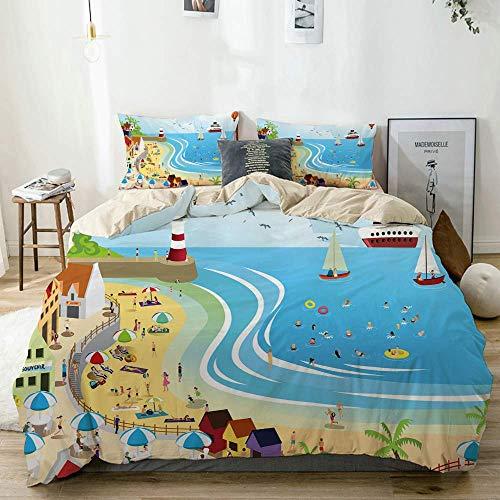 779 XUiZc Beige bedding - Duvet Cover Set,Beach,Microfibre Duvet Cover Set 200x200cm with 2 Pillowcase 50x80cm