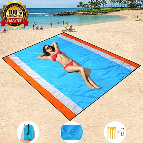 HISAYSY Beach Blanket Outdoor Picnic Blanket, Extra Large 210 x 200cm Waterproof Lightweight No Sand Beach Mat for Travel, Camping, Hiking