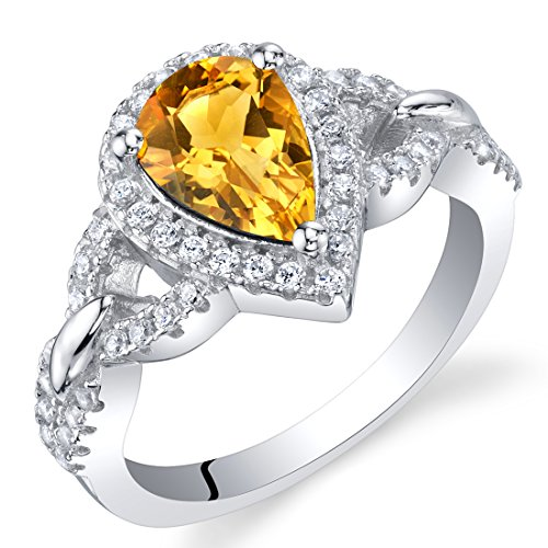 Citrine Sterling Silver Halo Crest Ring Size 6
