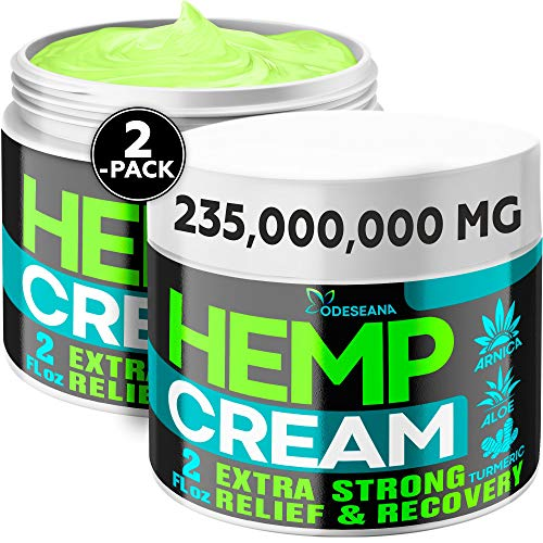 (2 Pack) Hemp Cream for Joint, Back, Knees, Neck, Elbows - Made in The USA - High Strength Hemp Oil Extract with Msm, Arnica, Turmeric, 4 oz Total