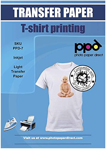 PPD Inkjet Premium Iron-On Light T Shirt Transfer Paper 11 x 17 Pack of 10 Sheets (PPD007-10)