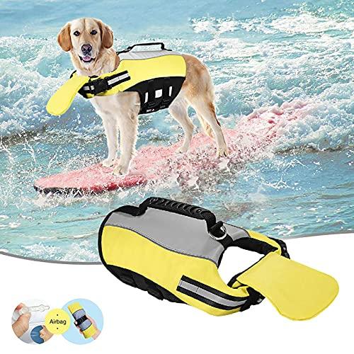Dog Life Vests for Swimming Large,Reflective Dog Life Jacket Portable Airbag Dog Vest for Swimming...