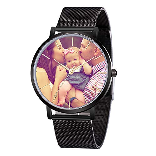 Junmei Benutzerdefinierte Foto-Uhr für Männer, Gravierte Uhr Personalisierte Edelstahl-Armbanduhr Vatertagsgeschenk - mit Ihrem eigenen Bild angepasst