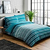 Sleepdown Wende-Bettwäsche-Set, strukturiert, gestreift, 135 x 200 cm + 1 Kissenbezug 80 x 80 cm, Polycotton, blaugrün, 5056242763659