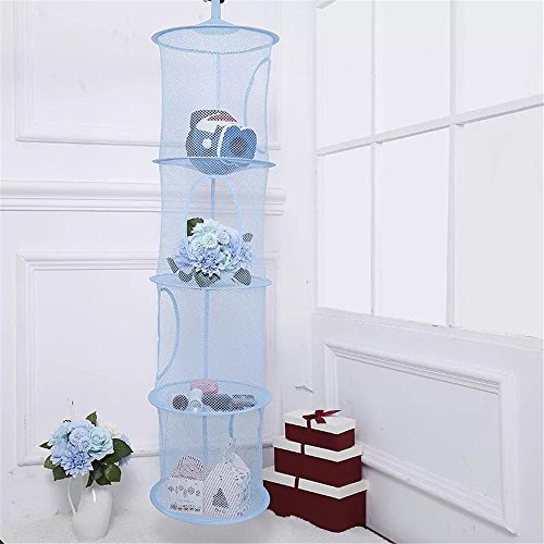 4 estantes para colgar red de secado cesta de malla, aire libre cocina Dish Alimentos red de secado, plegable cesta de tendedero de almacenamiento para sujetador, ropa interior, medias (azul)