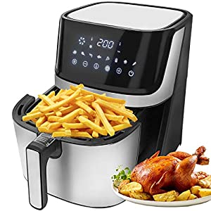 Air Fryer, Elegant Life 5L 1700W 8-in-1 LED Touchscreen Air Fryer, Timer and Adjustable Temperature Control for Healthy Oil Free or Low Fat Cooking, Nonstick Basket, Black