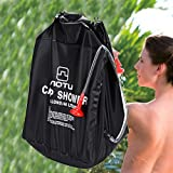 Fine 40L Outdoor Solar Shower Bag,Camp Shower with Removable Hose and On-Off Switchable Shower Head for Camping Beach Swimming Outdoor Traveling Hiking (Black)