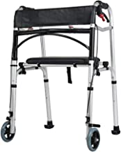 PXY Useful Walking Aid Rollator Walker Folding Travel Walker for Seniors,with Wheels Compact Walker Adjustable Hight with ...