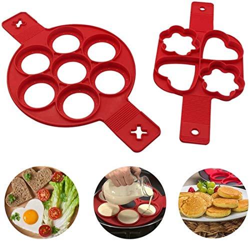 Pancakes form,Nonstick Silikon Ei Ring Pfannkuchen Form,Neue verbesserte Silikon auslaufsichere Design, Wiederverwendbare Silikon Non Stick Pfannkuchen Maker 2er-Pack(BPA-Frei)