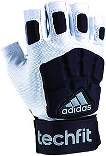 adidas Techfit Lineman Football Half Finger Gloves, White/Black, Small
