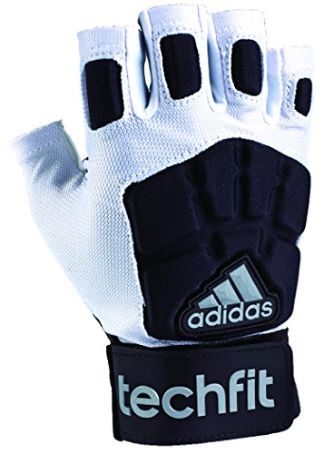 adidas Techfit Lineman Football Half Finger Gloves, White/Black, Medium