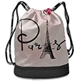 OKIJH Sac à dos Sac à dos de loisirs Sac à cordon Sac à dos multifonctionnel Sac de sport Small Backpack For Men France Hand Drawn Romantic Eiffel Tower Gym Drawstring Bags Backpack Sports String Bund