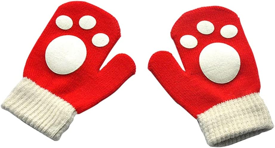 WBDL Winter Warm Gloves for Children Aged 1-5 Thickened Kids New Baby Mittens for Boys Girls Cute Cartoon Knitted Gloves