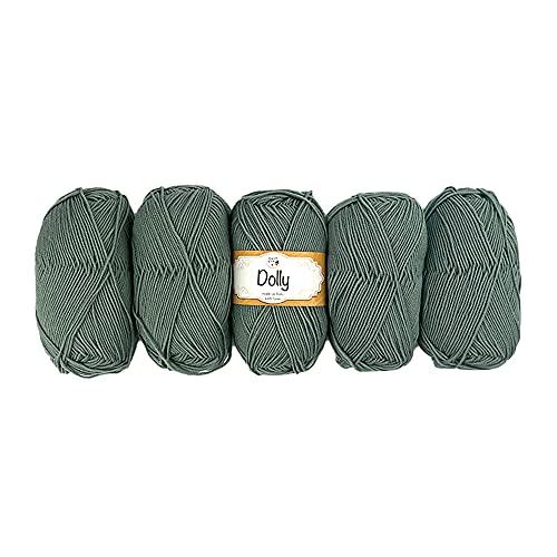 TRICOT CAFE' Lana Dolly, paquete de 5 unidades, 100% pura lana merina extrafina/verde cactus 59