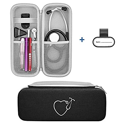 Travel Case for 3M Littmann Classic III/Lightweight II S.E./ Cardiology IV Stethoscope & MDF Acoustica Stethoscope, Comes with a Name Tag Gift for Nurse, Carrying Storage Bag Cover Organizer (Black)