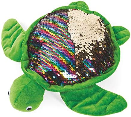 LMC Products 11 Turtle Stuffed Animal with Reversible Flipping Sequins Cute Plush Sea Turtle product image