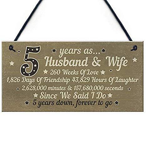 SIGNS 15x33cm 5Th verjaardagskaart Vijf jaar voor haar geschenken voor mannen echtgenoot vrouw Houten Plaque Home Wall Art Decoratie